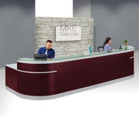 """Double Glass Top Reception Desk - 64""""D x 190""""W, D30219"""