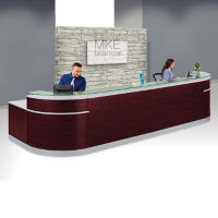 "Double Glass Top Reception Desk - 64""D x 190""W, D30219"