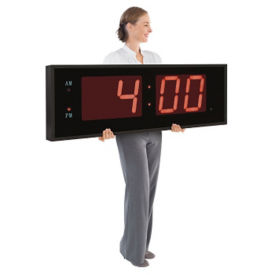 "Digital LED Clock with 8"" Red Numerals, V21723"