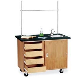 Mobile Lab Demonstration Table Sink Storage And Drawers, L70019