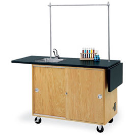 Mobile Lab Demonstration Table Drop Leaf Top Sink And Storage, L70020