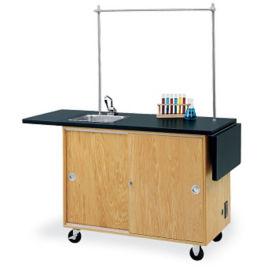 Mobile Lab Demonstration Table Drop Leaf Top Sink And Storage, L70020