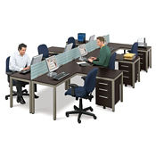 At Work Six Station L Desks with Dividers, D35193
