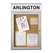"Bulletin Board with Illuminating Header 24"" x 36"", B20496"