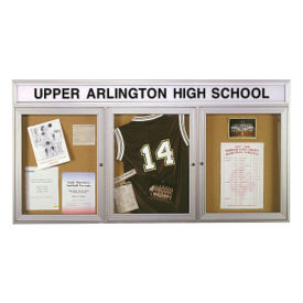 "72"" x 36"" Bulletin Board with Illuminating Header, B20500"