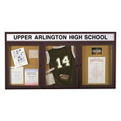 "72"" x 36"" Bronze Illuminating Header Bulletin Board, B20507"