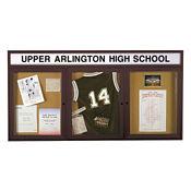 "72"" x 36"" Bronze Illuminating Header Bulletin Board, B20507"