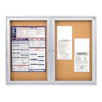 "Indoor Satin Aluminum Bulletin Board 48"" x 36"", B20523"