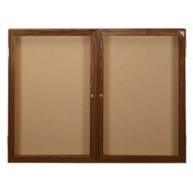"Indoor Walnut Stain Bulletin Board 60""x48"", B20555"