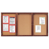 "Indoor Walnut Stain Bulletin Board 72""x48"", B20557"
