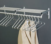 "Coat Rack with Shelf in Satin Brass Finish 24"" Wide, W60025"