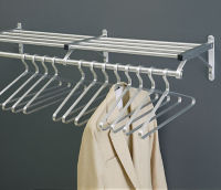 "Coat Rack with Shelf in Satin Brass Finish 60"" Wide, W60025E"