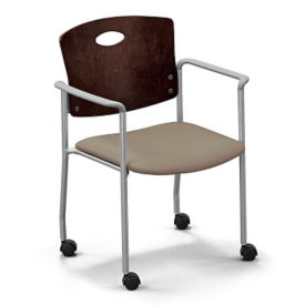 Standard Wood Back Stack Chair with Arms and Casters, K10028