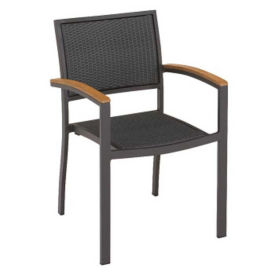 Outdoor Weave and Teak Stack Chair, F10183
