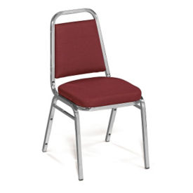 "Square-Back Stack Chair with 2"" Fabric Seat, C67787"