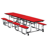 "Fold and Roll Split-Bench Table with Chrome Frame 30"" W x 144"" L, T10430"