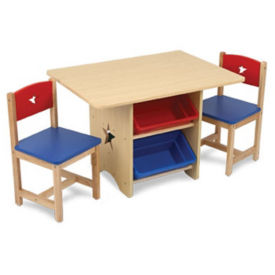 Table with Two Chairs and Storage Bins, P30221