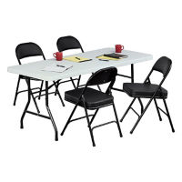 "Lightweight Folding Table - 30"" D x 72"" W with Four Chairs, D92224"