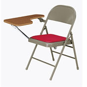 Folding Chair with Vinyl or Fabric Seat and Folding Tablet Arm Right Side, C57775