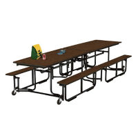 Cafeteria Table 10' long with Bench Seating, D44042