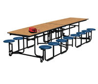 12' Long Cafeteria Table with 16 Stools with Black Edge and Frame, D44044