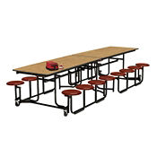 Cafeteria Table 12' long with Stool Seating with Black Edge and Frame, D44045