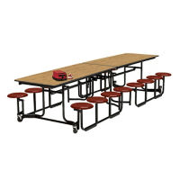 10' Long Cafeteria Table with 12 Stools with Black Edge and Frame, D44046