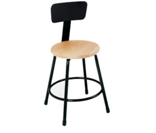 "Stool Wood Seat 18"" with Backrest, D57026"
