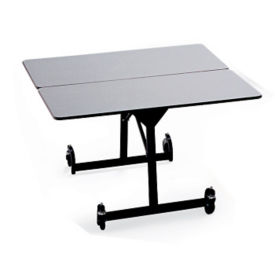 "Square Fold and Roll Table with Black Frame 48"" Sides, T10434"
