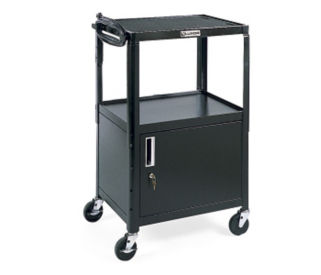 Adjustable Height AV Cart with Cabinet - Black, M10008