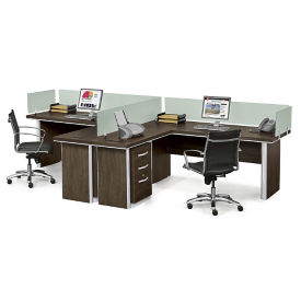 Metropolitan Two L-Desk Benching Set, D31039