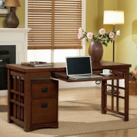 Mission Style Laptop Desk with Mobile Pedestal, D35315