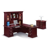"Cumberland L-Desk with Right Return and Hutch - 72""W, D35639"