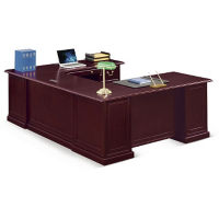 "Cumberland U-Desk with Right Bridge - 72""W, D35644"