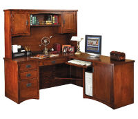 "L-Desk with Right Return and Hutch - 74""D x 64""W, D35308"