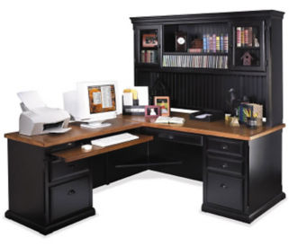 L Desk with Hutch Left Return, D35061