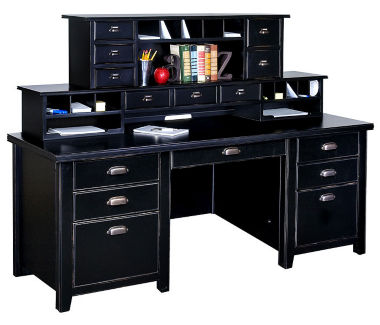 "Double Hutch Contemporary Office Desk - 32""D x 68.25""W, D35326"