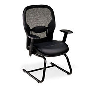 Bonded Leather Seat and Mesh Back Guest Chair, C80455