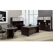 Contemporary Bow Front Desk Suite with Conference Table, B30563