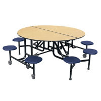 "Round 8 Seat Mobile Cafeteria Table - 29""H, K10040"