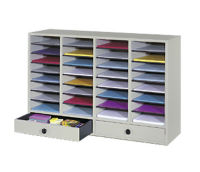 Wood Organizer with 32 Slots and 2 Drawers, L40277
