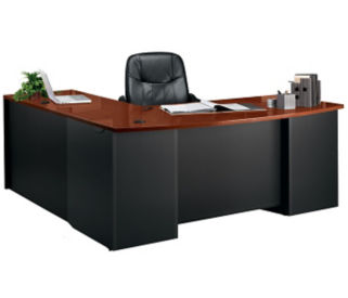"Executive Bowfront L-Desk with Locking Pedestals - 72""W, D35686"