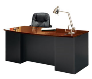 "Executive Bowfront Desk with Locking Pedestals - 72""W, D35687"
