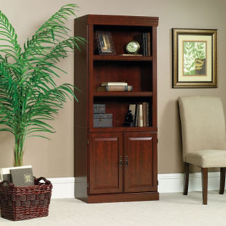 """Five Shelf Traditional Bookcase with Doors - 71"""" H, B32155"""