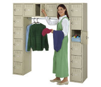 16-Person Locker with Coat Rack, B30214