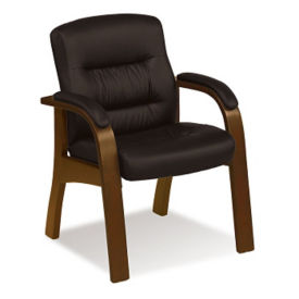 Wood Frame Faux Leather Guest Chair, C80396
