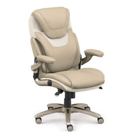 Faux Leather Ergonomic Executive Chair with Flip Arms, C80398