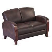 Faux Leather Loveseat with Wood Trim, W60828