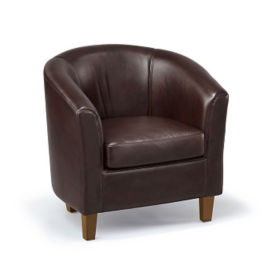 Curved Back Faux Leather Club Chair, W60824