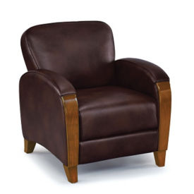 Faux Leather Club Chair with Wood Trim, W60827